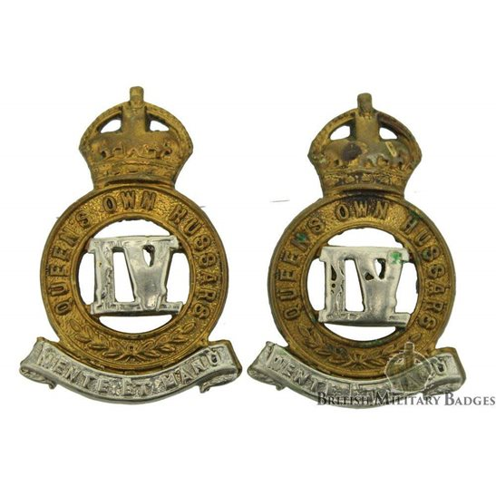 4th Queens Own Hussars Regiment Collar Badge PAIR