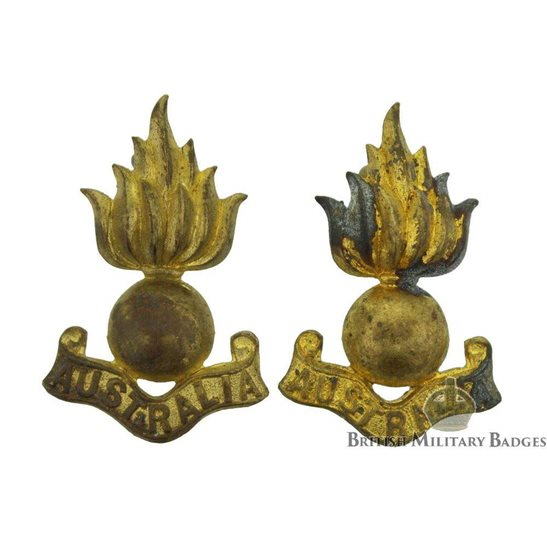 Royal Australian Engineers Corps Collar Badge PAIR