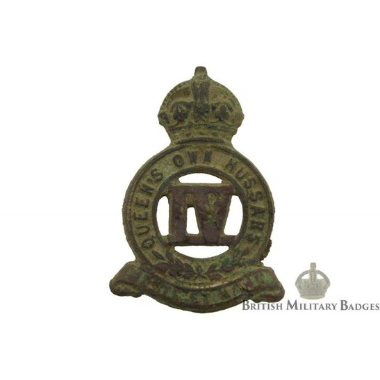 4th Queens Own Hussars UK Dug Detecting Find - WW1 4th Queens Own Hussars Regt. Relic Collar Badge