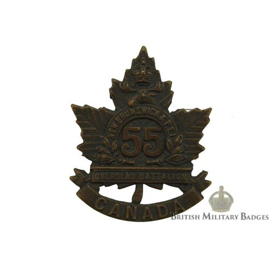 WW1 Canadian Army WW1 Canadian 55th Battalion (New Brunswick & Prince Edward Island) CEF Cap Badge