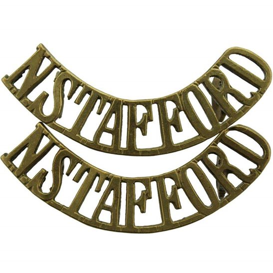 North Staffordshire North Staffordshire (Stafford) Regiment Shoulder Title PAIR