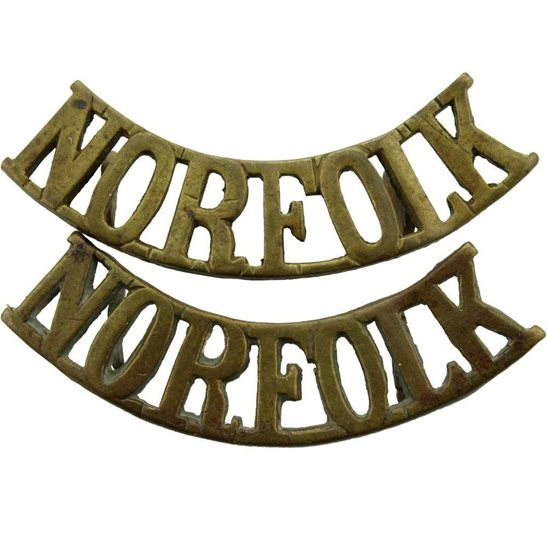 Norfolk Regiment Norfolk Regiment Shoulder Title PAIR