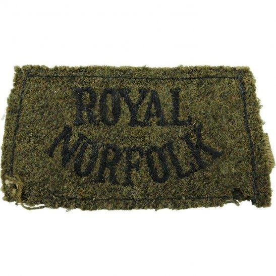 Norfolk Regiment WW2 Royal Norfolk Regiment Cloth SLIP ON Shoulder Title Badge Flash