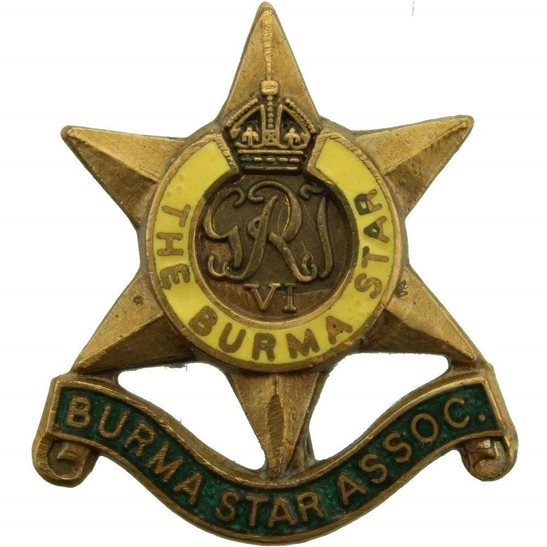 WW2 The Burma Star Association Members Lapel Badge