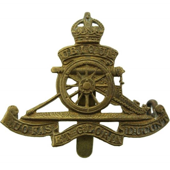 Royal Artillery WW2 Royal Artillery Regiment SMALL Cap Badge - DOWLER BIRMINGHAM Makers Mark