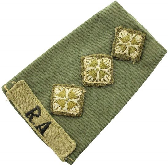 Royal Artillery WW2 Royal Artillery Officers CLOTH Slip-On Epaulette Insignia Pips - Rank of Captain