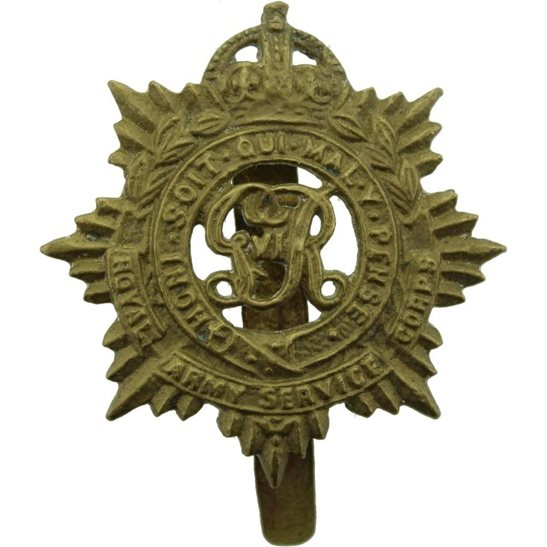 Royal Army Service Corps RASC WW2 Royal Army Service Corps (George VI) RASC Cap Badge - INDUSTRIAL FV. ALIGARH Makers Mark