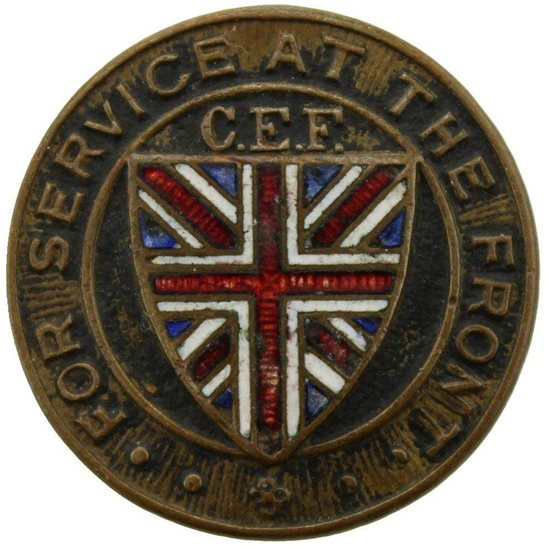 WW1 Canadian Army WW1 Canadian Expeditionary Force CEF For Service at the Front Lapel Badge
