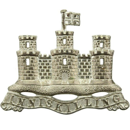 Royal Inniskilling Fusiliers Royal Inniskilling Fusiliers Irish Regiment Silvered PIPERS Badge