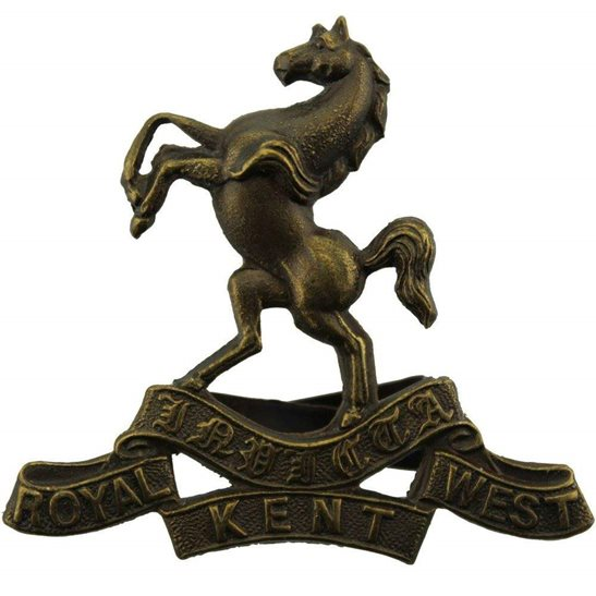 Royal West Kent Queens Own Royal West Kent Regiment OFFICERS Bronze Cap Badge
