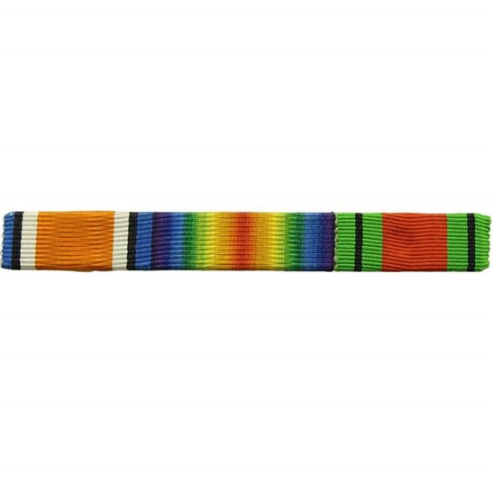 WW1 Ribbon Bar - British War & Victory Pair and WW2 Defence - PIN BACK