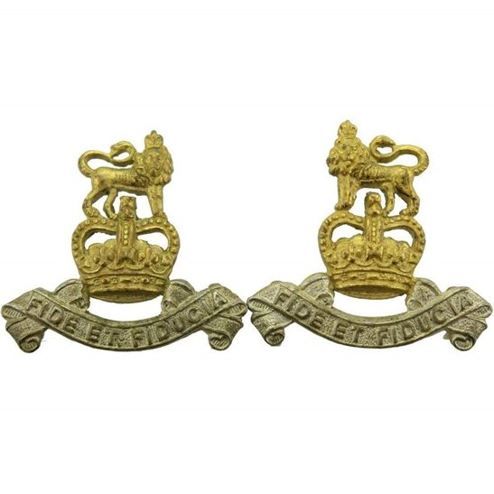 Royal Army Pay Corps RAPC Royal Army Pay Corps RAPC Collar Badge PAIR - Queens Crown