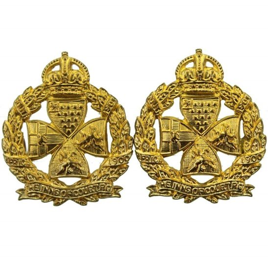 Inns of Court Inns of Court London Regiment GILT Collar Badge PAIR