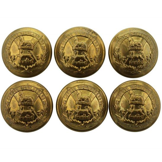 Gordon Highlanders Group of Gordon Highlanders Regiment Scottish Tunic Buttons x6 - 26mm