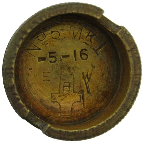 WW1 No. 5 Mills Base Plug E.B.W. EDWARDS BROS, EXCELSIOR WORKS - Somme Battlefield Find