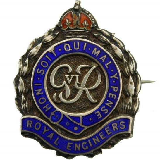 Royal Engineers WW2 Royal Engineers Corps (George VI) STERLING Silver Sweetheart Brooch