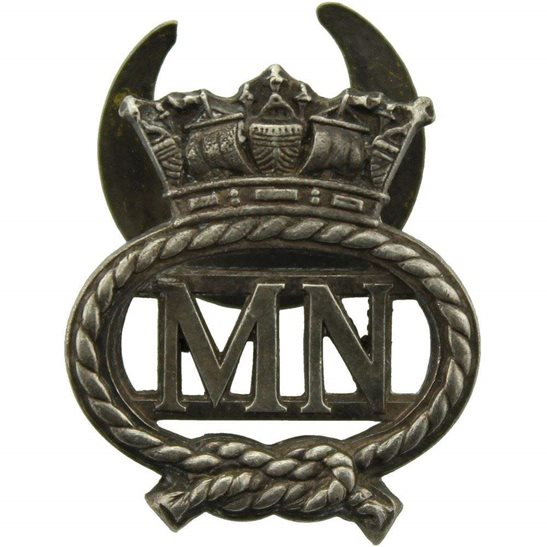 Merchant Navy WW1 Merchant Navy On War Service Silver Lapel Badge
