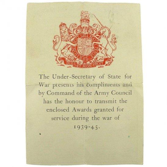 WW2 ARMY COUNCIL Medal Box Transmittal Slip Paperwork