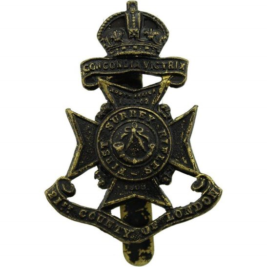 London Battalions First Surrey Rifles, 21st Battalion County of London Regiment Cap Badge