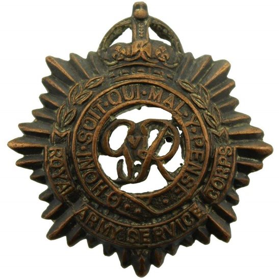Royal Army Service Corps RASC Royal Army Service Corps RASC (George VI) OFFICERS Bronze Collar Badge