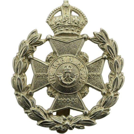 Notts & Derby 7th Robin Hoods Battalion, Sherwood Foresters (Notts and Derby) Regiment Cap Badge - HG&S Makers Mark