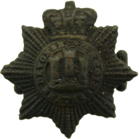Devonshire Regiment UK Dug Detecting Find - Victorian Devonshire Regiment Relic Collar Badge