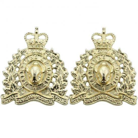 Royal Canadian Mounted Police RCMP Royal Canadian Mounted Police RCMP Staybrite Anodised Collar Badge PAIR