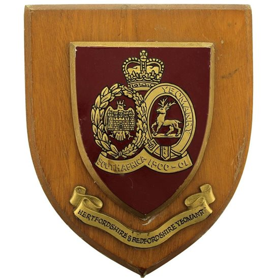 Hertfordshire and Bedfordshire Yeomanry Regiment Wooden Wall Plaque Shield Badge