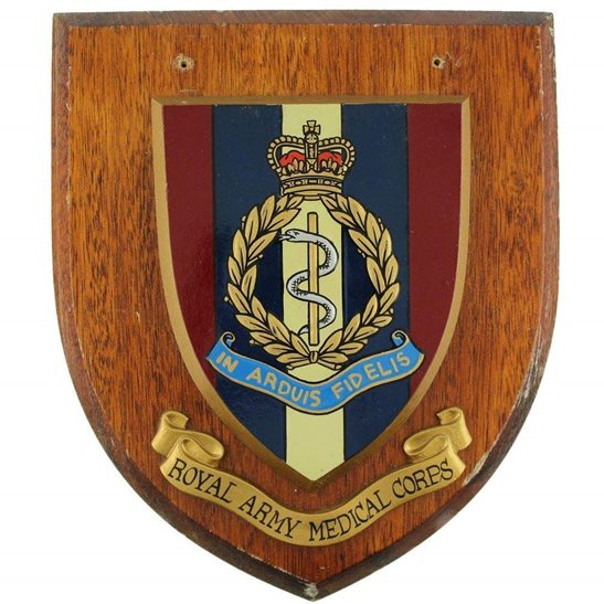 Royal Army Medical Corps RAMC Wooden Wall Plaque Shield Badge