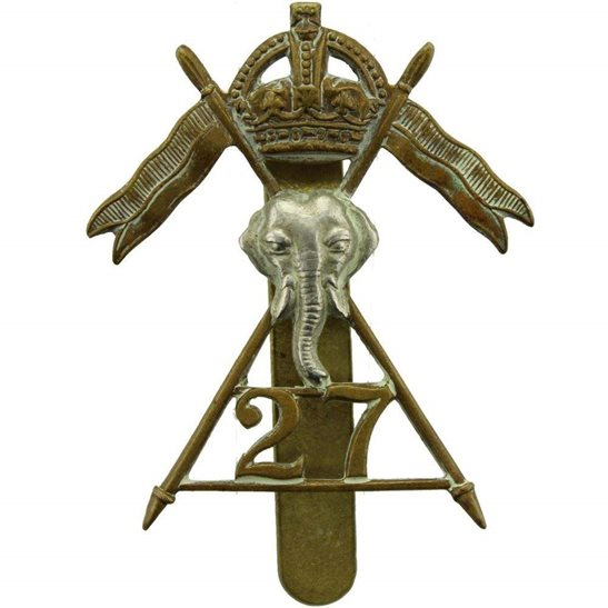 27th Lancers WW2 ISSUED 27th Lancers Regiment Cap Badge