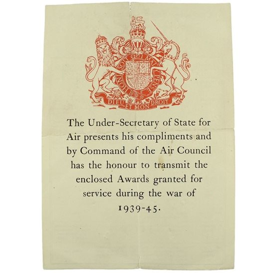 WW2 AIR COUNCIL Medal Box Transmittal Slip Paperwork