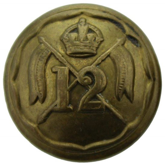 12th Lancers WW1 12th Royal Lancers Regiment SMALL Tunic Button - 19mm