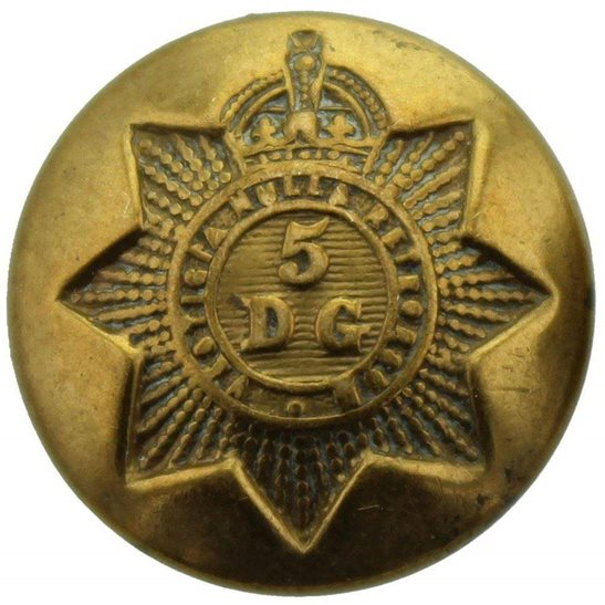 5th Dragoon Guards WW1 5th Royal Inniskilling Dragoon Guards Regiment SMALL Tunic Button - 19mm