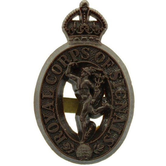 Royal Corps of Signals RCOS WW2 Royal Corps of Signals RCOS PLASTIC Economy Issue Cap Badge