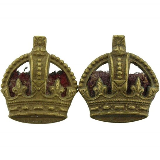 WW1 British Army Officers Insignia Crown Pips PAIR - Rank of Major
