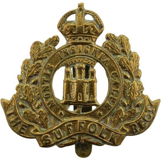 Suffolk Regiment WW1 Suffolk Regiment ALL BRASS Economy Issue Cap Badge