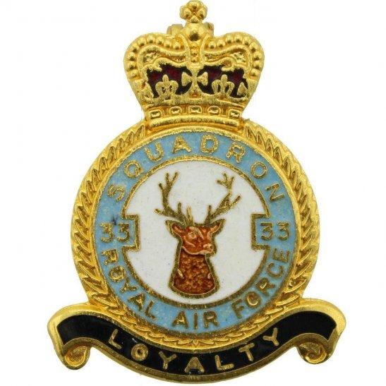 RAF Squadrons 33 Squadron Royal Air Force RAF Lapel Badge