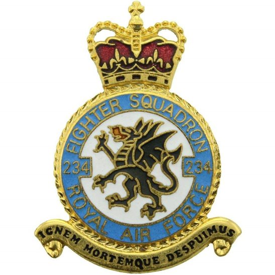 RAF Squadrons 234 Fighter Squadron Royal Air Force PLAQUE Badge RAF
