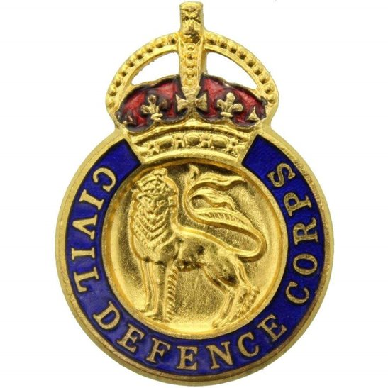WW2 Civil Defence Corps Home Front Lapel Pin Badge