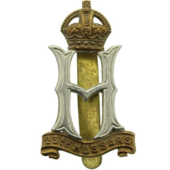 23rd Hussars WW2 23rd Hussars Regiment Cap Badge - FIRMIN LONDON Makers Mark