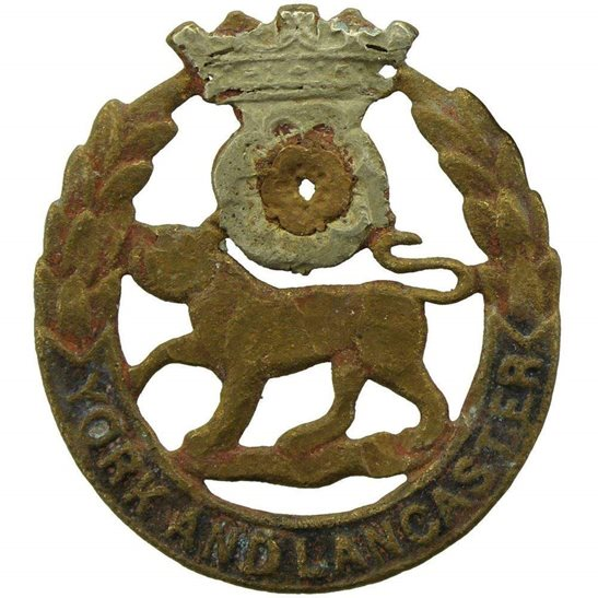 York & Lancaster UK Dug Detecting Find - WW1 York and Lancaster Regiment Relic Cap Badge