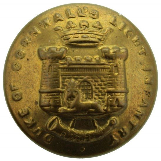 Duke of Cornwalls Light Infantry Duke of Cornwalls Light Infantry DCLI Cornwall's Regiment SMALL Tunic Button - 19mm