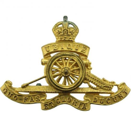 Royal Artillery WW2 Royal Artillery Regiment OFFICERS Gilt Cap Badge