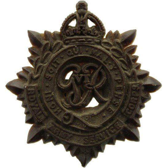 Royal Army Ordnance Corps RAOC WW2 Royal Army Service Corps RASC PLASTIC Economy Issue Cap Badge