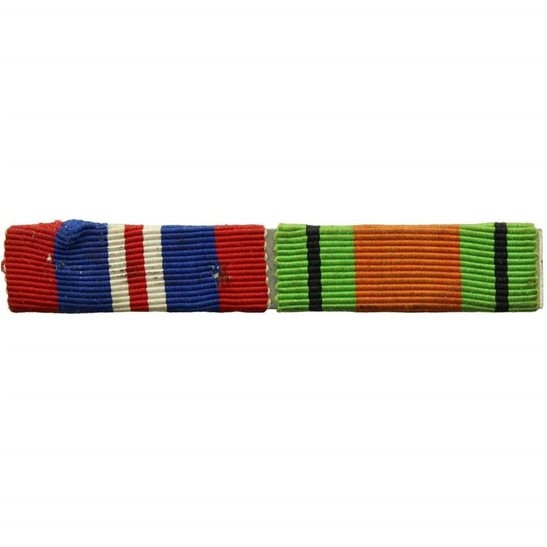 WW2 Medal Ribbon Bar - 1939-45 Defence & War Medal - PIN BACK