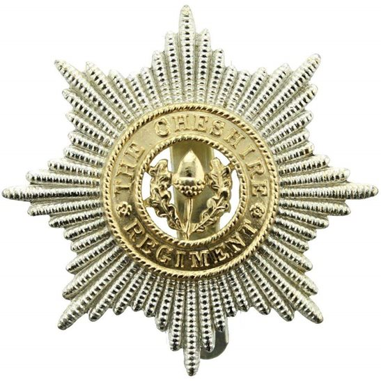 The Cheshire Regiment Staybrite Anodised Cap Badge - Staybright