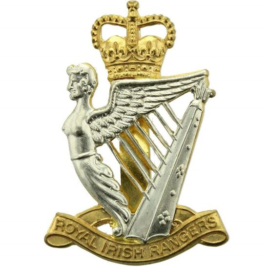 Royal Irish Rangers Regiment Cap Badge - Queens Crown