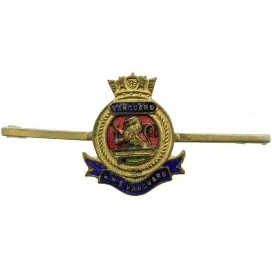 Royal Navy WW1 British Royal Navy Sweetheart Brooch HMS Vanguard Lapel Badge