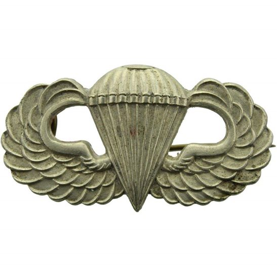WW2 US Army WW2 US Army Airborne BRITISH MADE Paratrooper Jump Wings  Insignia Badge - LUDLOW LONDON