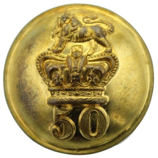 Royal West Kent VICTORIAN 50th Regiment of Foot (Queens Own) 1855-1881 OFFICERS Tunic Button - 25mm